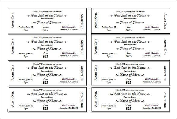 Doc600397 Microsoft Word Event Ticket Template event ticket – Word Event Ticket Template