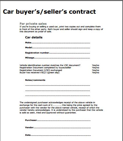 car sale contract when selling a car to a buyer and car sale contract