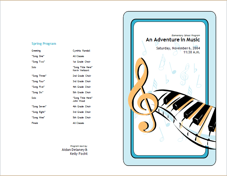 Sample School Concert Event Brochure Template Free