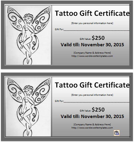 ... certificate template for free to design tattoo gift certificates for