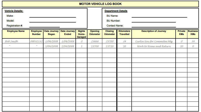Automotive logbook for Truckers log book template