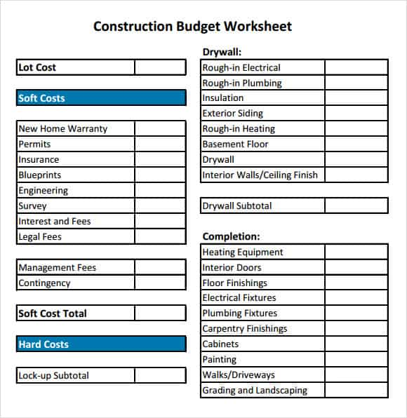 Printables Construction Budget Worksheet sheet templates free sample 4 home construction budget worksheet templates