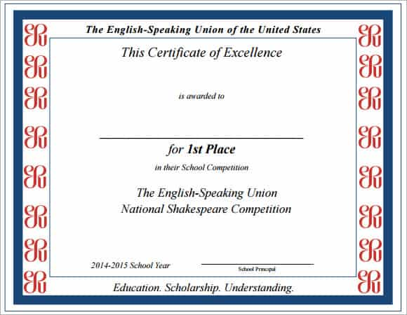 Certificate Of Excellence Template image