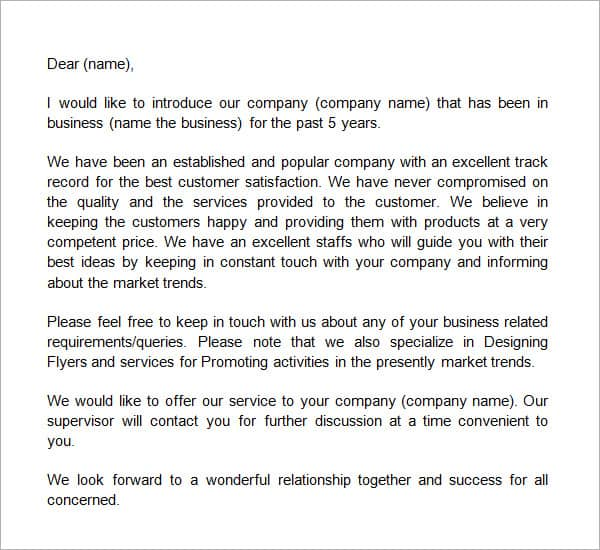 Company Introduction Letter Sample from www.sampletemplatespro.com