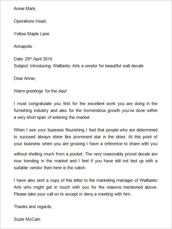 Company Introduction Letter Template 555