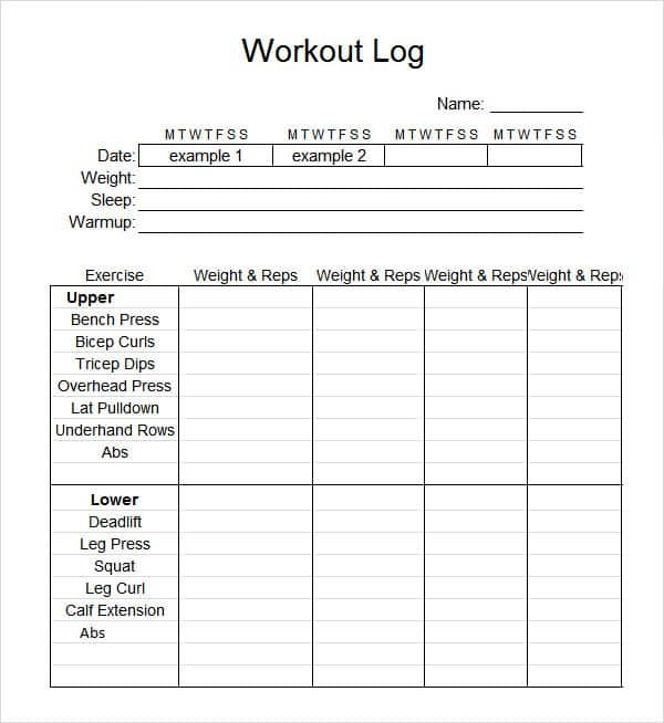 Daily Workout Log template 444