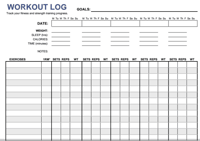 Daily Workout Log template 555