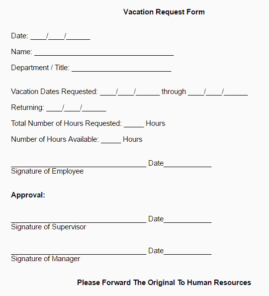 Employee Vacation Request Form 222