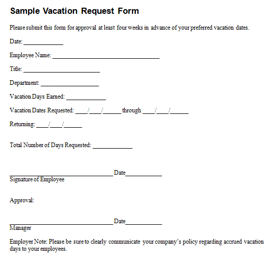 Employee Vacation Request Form Template 164