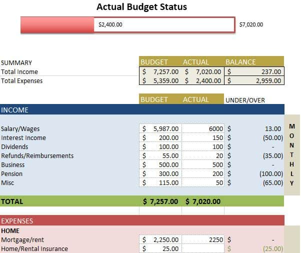 Expense Budget Sheet Template 41