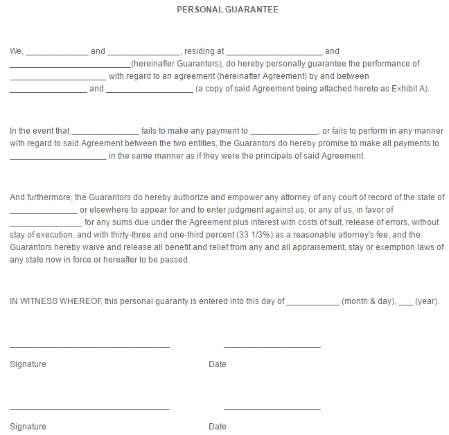Personal Guarantee Form Template 111