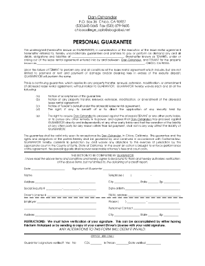 Personal Guarantee Form Template 444
