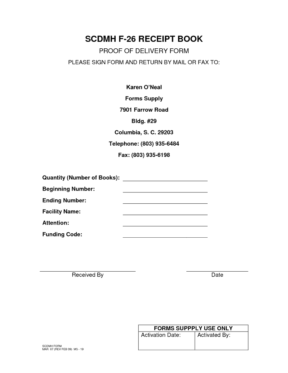 Proof Of Delivery Template 64