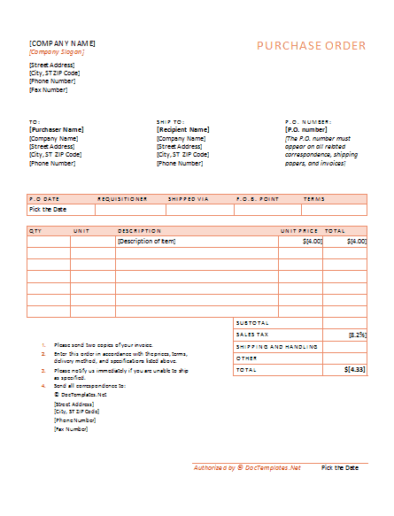 Purchase Order Form Template image