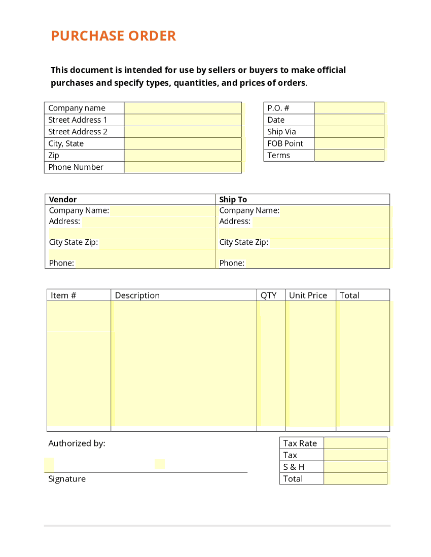 Purchase Order Form template 333