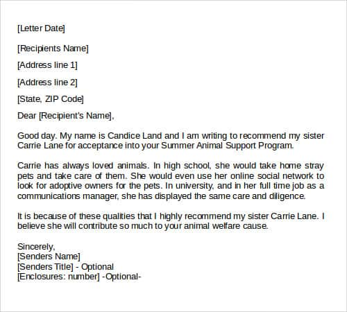 Recommendation Letters template 55