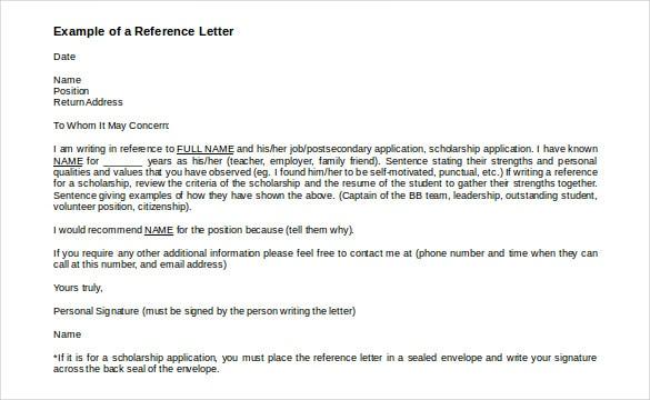 Reference Letters template 555