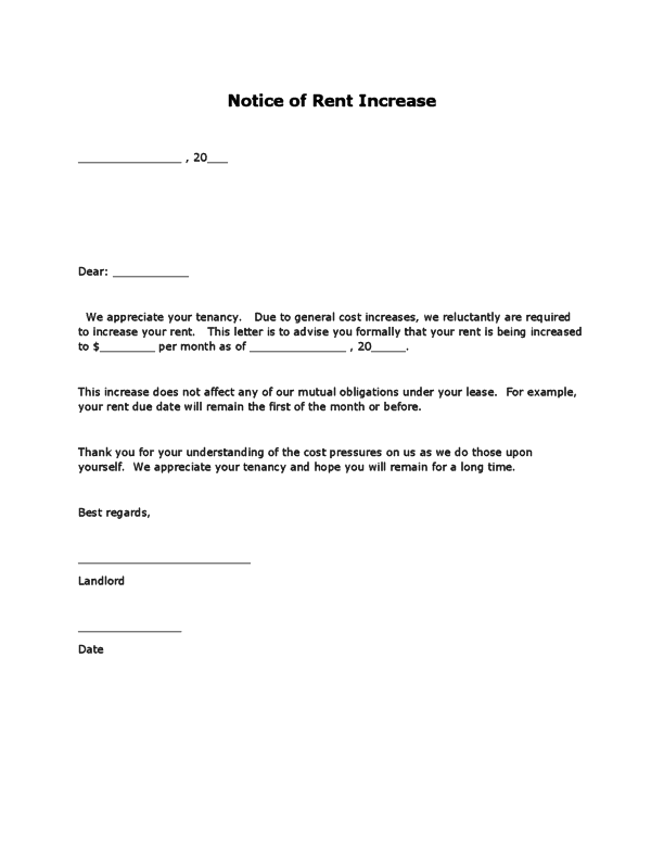 Rent Increase Letter template 111
