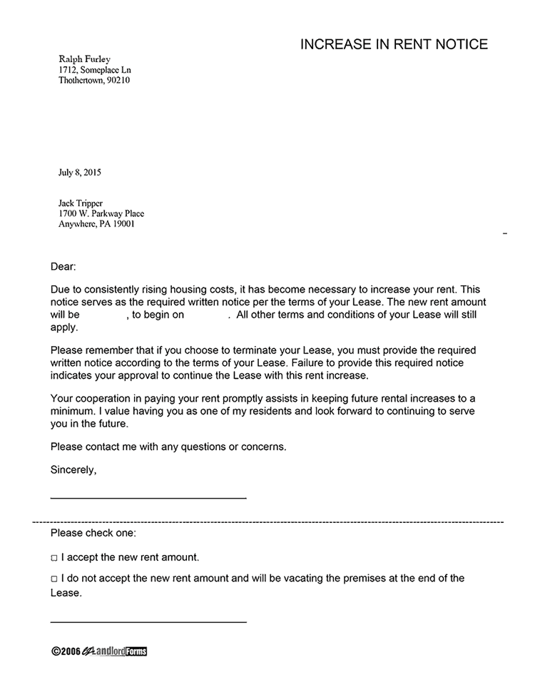 Rent Increase Letter template 333