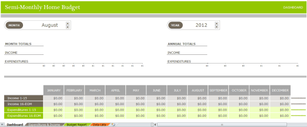 Semi Monthly Home Budget Sheet Template image