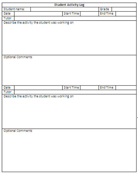 Student Activity Log Template