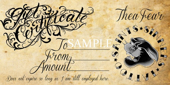 6 tattoo gift certificate templates