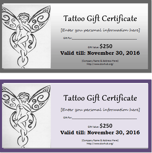 6 Tattoo Gift Certificate Templates Free Sample Templates