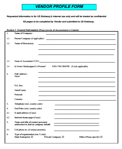 Vendor Profile Form Template