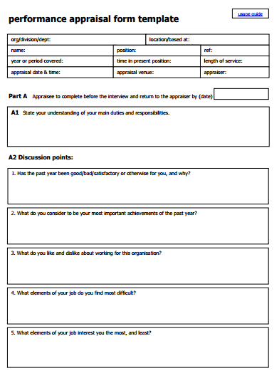 Employee Performance Review Form 222