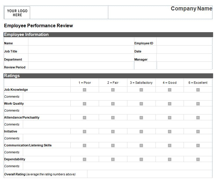 Employee Performance Review Form 333