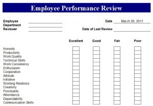 Employee Performance Review Form 444