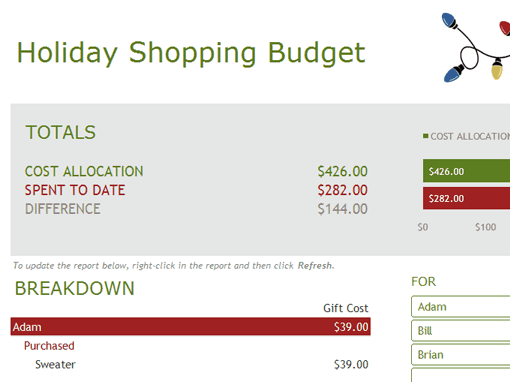 Holiday Shopping Budget Sheet 111