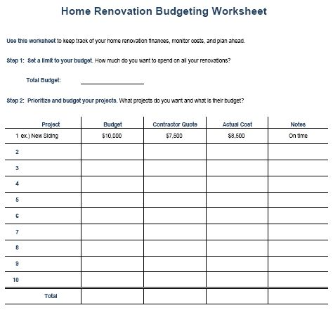 Home Remodel Budget Sheet 111