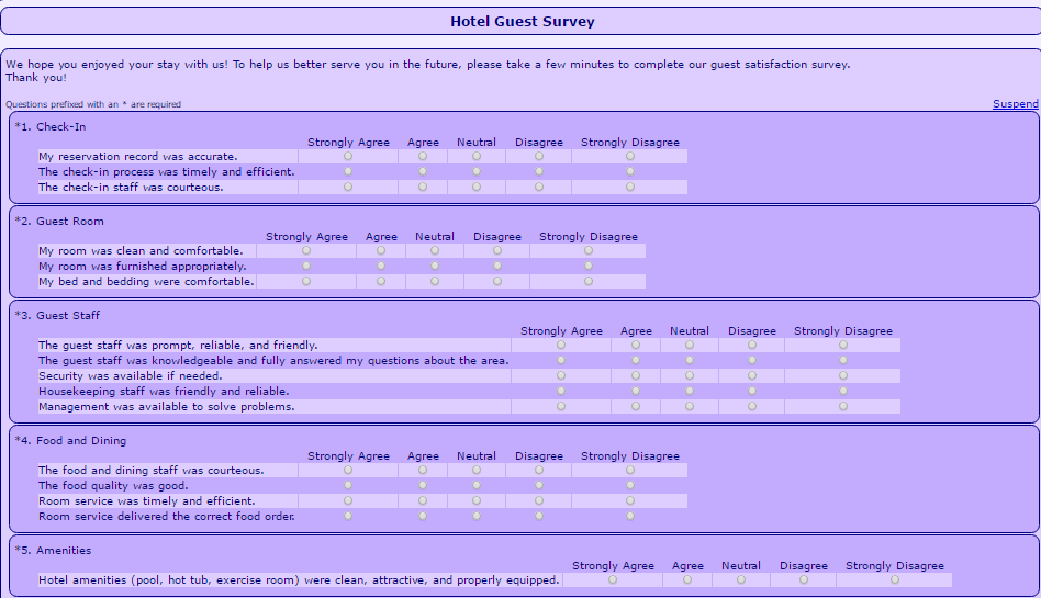 Hotel Accommodation Survey Form Template 555