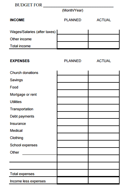 Household Monthly Budget Sheet Template 444
