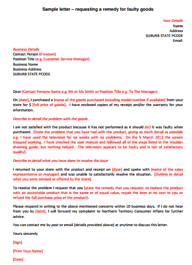 Letter Of Refund For Faulty Goods template 333