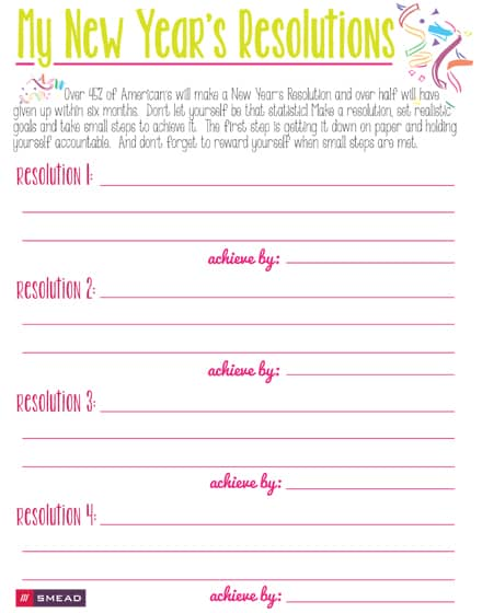 5 new year resolution checklist templates