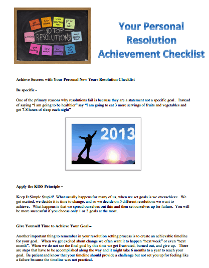 New Year Resolution Checklist template 333