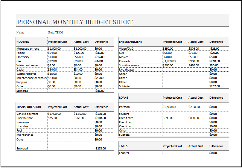 Personal Monthly Budget Sheet Template 555