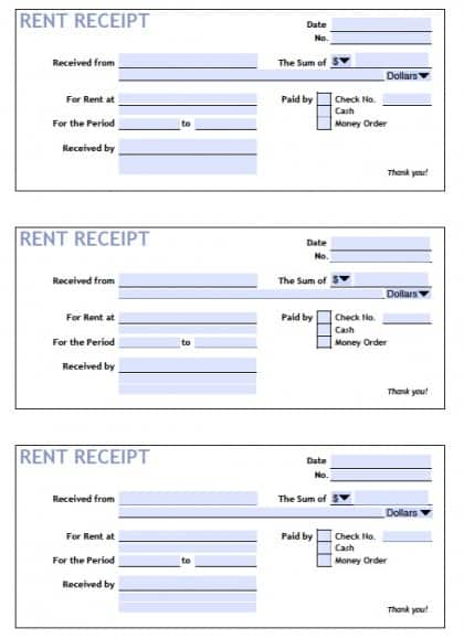 6 rent receipt templates