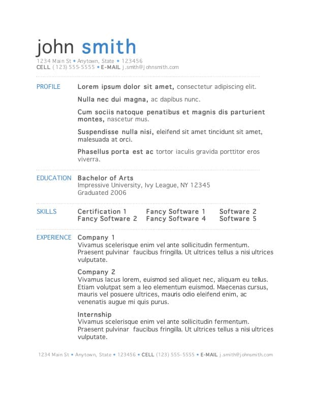 resume format and templates 444