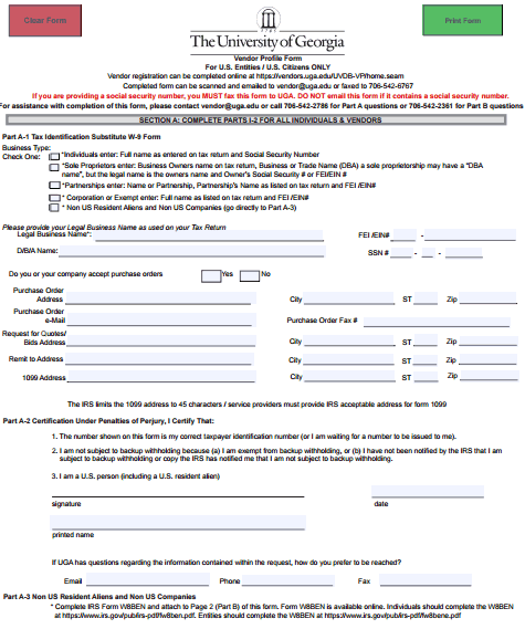 vendor profile form template 444
